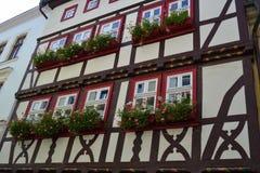华美的半木料半灰泥的议院在德国 免版税库存照片