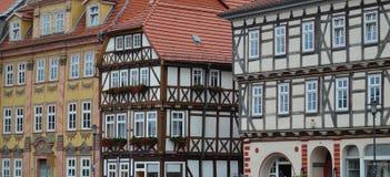 华美的半木料半灰泥的议院在德国 库存图片