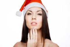 华美的圣诞老人女孩 免版税图库摄影