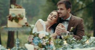 华美的夫妇浪漫日期在爱的在软软地拥抱和握手的葡萄酒布料 有雾的森林鲜美俏丽 影视素材
