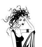 华美的头发杂乱妇女 免版税库存图片