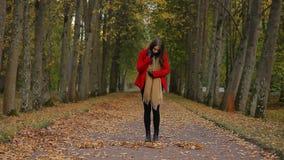 华美的女孩在一个美丽如画的公园形成从黄色叶子的词销售 影视素材