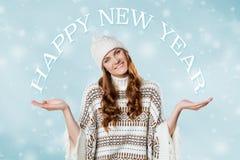 华美的女孩,新年快乐概念 免版税图库摄影