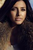 华美的妇女画象有长的黑发的佩带毛皮 库存照片
