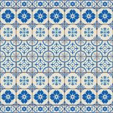 华美的无缝的样式白色土耳其,摩洛哥,葡萄牙瓦片, Azulejo,装饰品 库存图片