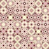 华美的无缝的样式白色老桃红色摩洛哥,葡萄牙瓦片, Azulejo,装饰品 能为墙纸使用 库存图片