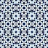 华美的无缝的样式白色蓝色摩洛哥,葡萄牙瓦片, Azulejo,装饰品 能为墙纸,样式使用 免版税库存照片