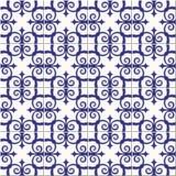 华美的无缝的样式白色蓝色摩洛哥,葡萄牙瓦片, Azulejo,装饰品 能为墙纸,样式使用 库存照片