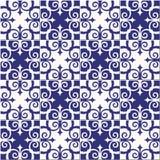 华美的无缝的样式白色蓝色摩洛哥,葡萄牙瓦片, Azulejo,装饰品 能为墙纸,样式使用 图库摄影