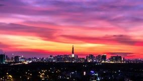 华美的日落在胡志明市,越南 免版税库存图片