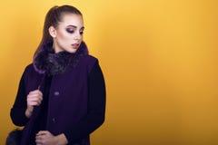 年轻华美的模型画象与穿有毛皮衣领的马尾辫和艺术性的构成的时髦紫色无袖的外套 库存照片