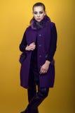 年轻华美的模型画象与穿黑皮革裤子和时髦紫色无袖的外套的马尾辫和艺术性的构成的 库存照片