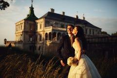 华美的深色的年轻握手a的新娘和迷人的新郎 免版税图库摄影