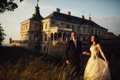 华美的深色的年轻握手a的新娘和迷人的新郎 图库摄影