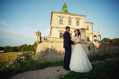 华美的深色的年轻握手a的新娘和迷人的新郎 免版税库存照片