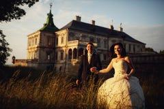 华美的深色的年轻握手a的新娘和迷人的新郎 库存照片