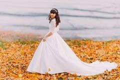 华美的白色礼服的美丽的无辜的年轻深色的新娘在下落的叶子站立在河沿 库存图片