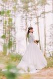 华美的白色礼服的美丽的无辜的年轻深色的新娘在森林足迹站立晴天 库存图片