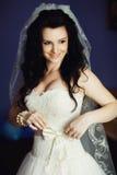 华美的白色褂子的美丽的新娘 库存照片