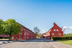 华美的红色Kastellet在哥本哈根 免版税库存图片