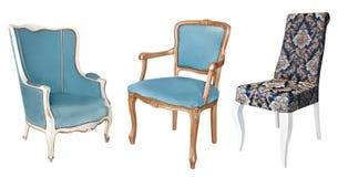 华美的葡萄酒扶手椅子与和金股白肿、蓝色和金填料 r r r 免版税库存图片