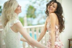 华美,可爱新娘拥抱,拥抱美丽的最好的朋友 库存照片