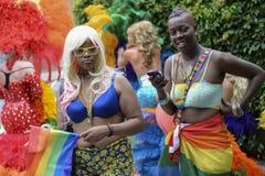 华腴成套装备同性恋自豪日游行的妇女 库存图片