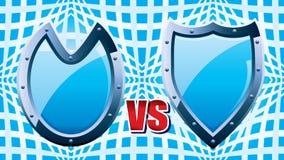 协会中世纪比赛的防御者标志与蓝色钢盾 向量例证