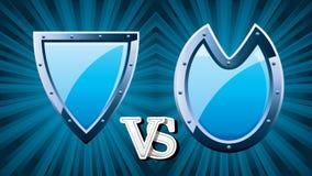 协会中世纪比赛的防御者标志与蓝色钢盾 皇族释放例证