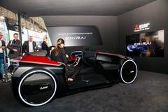 协助驾驶概念汽车在陈列Cebit的三菱2017年在汉诺威Messe,德国 免版税库存图片