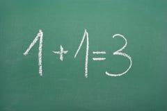 协同作用的演算:1+1=3 库存照片