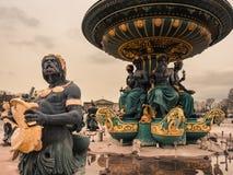 协和广场喷泉的细节,巴黎 库存图片