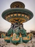 协和广场喷泉的细节,巴黎 免版税库存照片