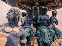 协和广场喷泉的细节,巴黎 图库摄影