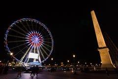 协和广场在晚上在巴黎,法国 图库摄影
