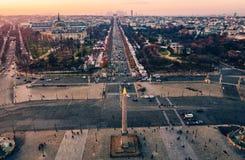 协和广场鸟瞰图在巴黎,法国 免版税库存照片