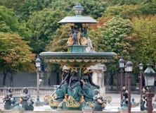 协和飞机喷泉巴黎 免版税库存图片