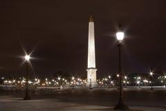 协和飞机晚上obelisc 免版税库存照片