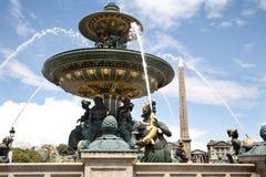 协和飞机de fountain la巴黎安排 免版税图库摄影