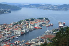 卑尔根地平线视图 免版税库存图片