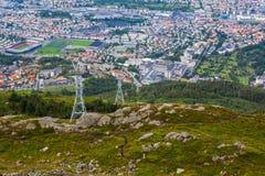 卑尔根市惊人的看法从Ulriken的 免版税图库摄影
