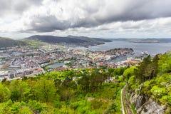 卑尔根市,挪威美丽的景色  免版税图库摄影