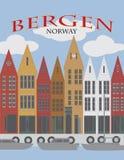 卑尔根挪威街市江边海报传染媒介例证 向量例证