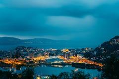 卑尔根挪威 卑尔根和港口Fr全景都市风景  免版税图库摄影