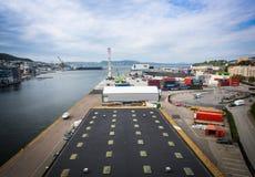 卑尔根港的顶视图  免版税库存图片