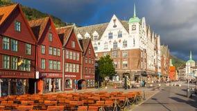 卑尔根都市风景 免版税库存照片