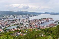 卑尔根鸟瞰图,挪威 免版税图库摄影