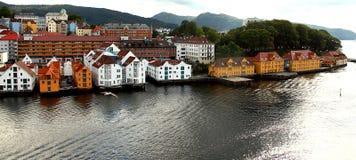 卑尔根,挪威它的特征屋顶 库存照片
