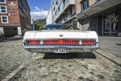 卑尔根,挪威, 2017年7月23日:1969年水星stan候爵的有盖马车 免版税库存照片