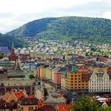 卑尔根,挪威:镇大厦全景  免版税库存图片